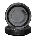 Picture of Plastic Plate Black 9in 230mm Extra Strong Dinner-PLAT090950- (CTN-500)