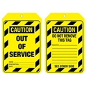 """Picture of Lockout Tag """"Caution out of order"""" Brady part no. 842390-MSAF838475- (PACK-10)"""