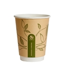 Picture of 12oz Biodegradable Double Wall Kraft Coffee Cup - Leaf Design-BIOD076212- (SLV-25)