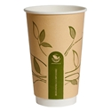 Picture of 16oz Biodegradable Double Wall Kraft Coffee Cup - Leaf Design-BIOD076214- (SLV-25)