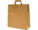 Picture of Carry Bag Brown Paper Flat Handle 340(H) x 320(W) + 140(G)  - Takeaway Large-CARB063833- (CTN-250)