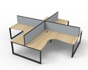 Picture of 4 Person corner workstation with screens - 1800 x 1500 x 750 per user-FURN360490- (EA)
